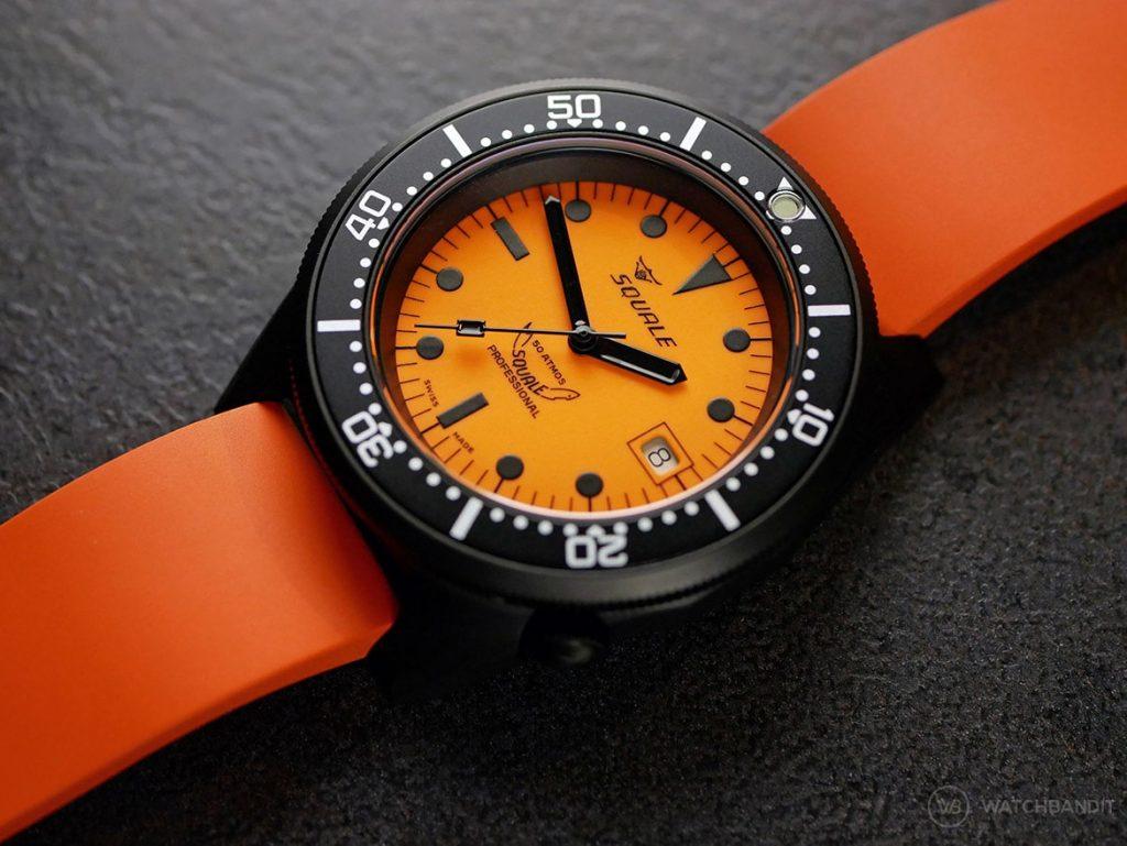 Squale-Luminoso Arancia PVD-CLassic rubber strap Orange WB Original