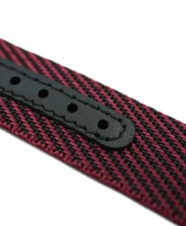 Premium Adjustable Single-Pass Nato Strap_Black-Red_leather reinforced_macro-min