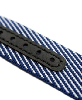 Premium Adjustable Single-Pass Nato Strap_Blue-White_leather reinforced_macro