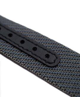 Premium Adjustable Single-Pass Nato Strap_Grey_leather reinforced_macro
