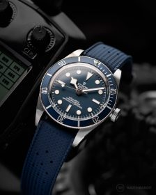 Blue Tropical style Rubber strap on Tudor Black Bay Fifty-Eight Blue