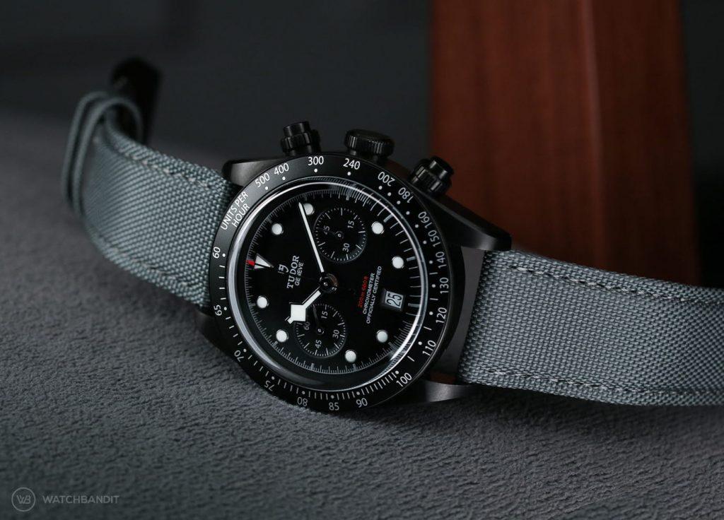 Tudor Black Bay Chrono Dark All blacks Limited Edition Rugby 79360DK B&P LC100_Grey Sailcloth strap watchbandit