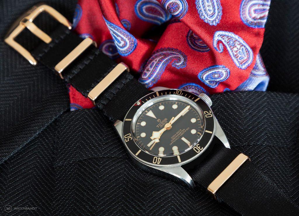 Tudor Black Bay rose gold Nato strap black