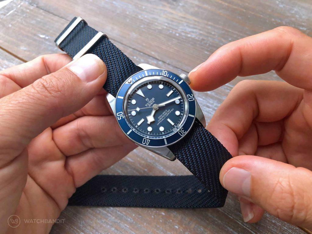 Tudor BlackBay 58 Navy Blue Adjustable NATO Strap blue black by Watchbandit