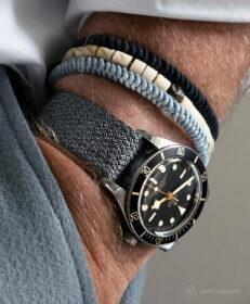 Tudor BlackBay black dial grey perlon strap WB pocket shot