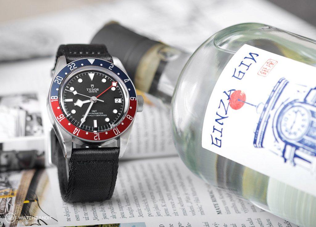 Tudor Black Bay GMT black two piece NATO strap by Watchbandit