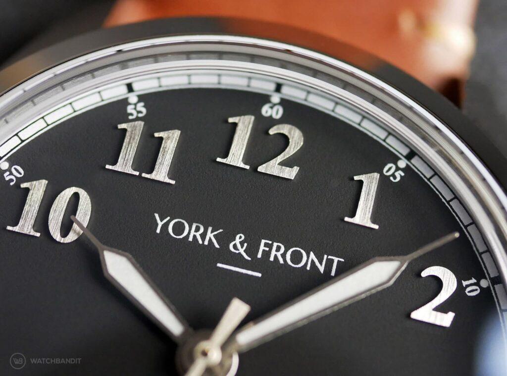 York & Front watches - Burrard - Series 1 - Matte Black - Dial macro