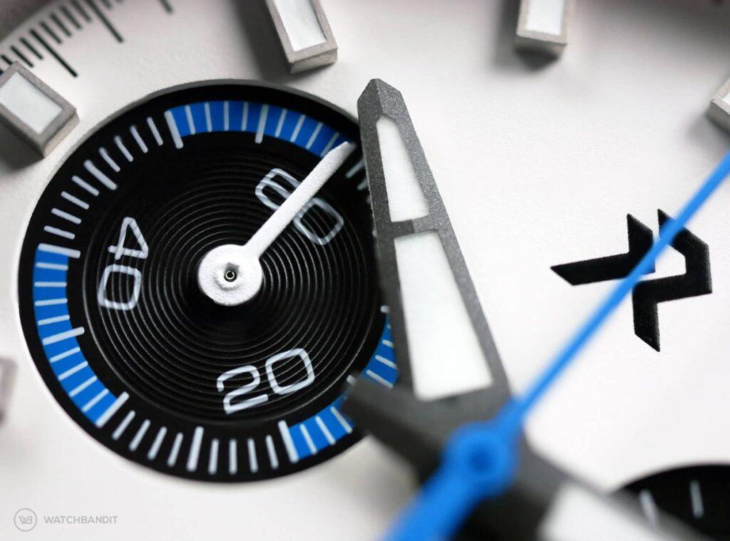 RZE Valour Crusader White - Chronograph Dial Macro